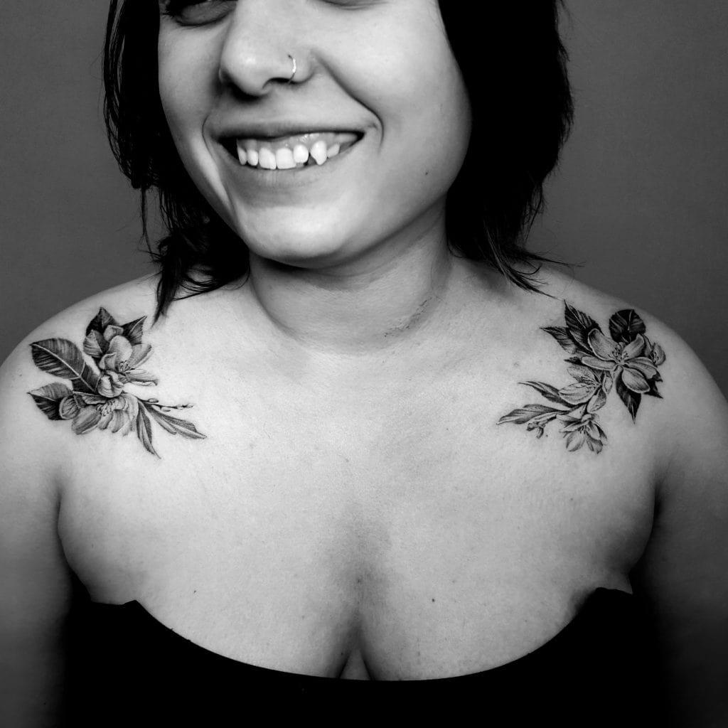 shoulder floral blossom tattoo