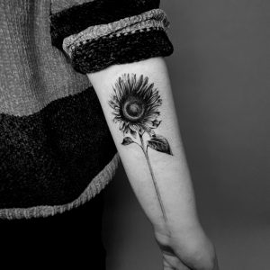 sunflower floral tattoo