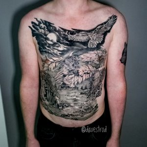 chest piece viking tattoo best black and grey