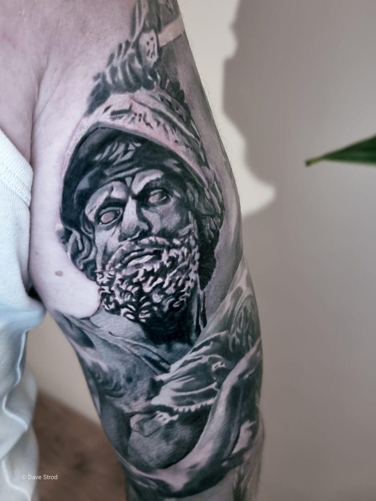 greek gods sleeve tattoo