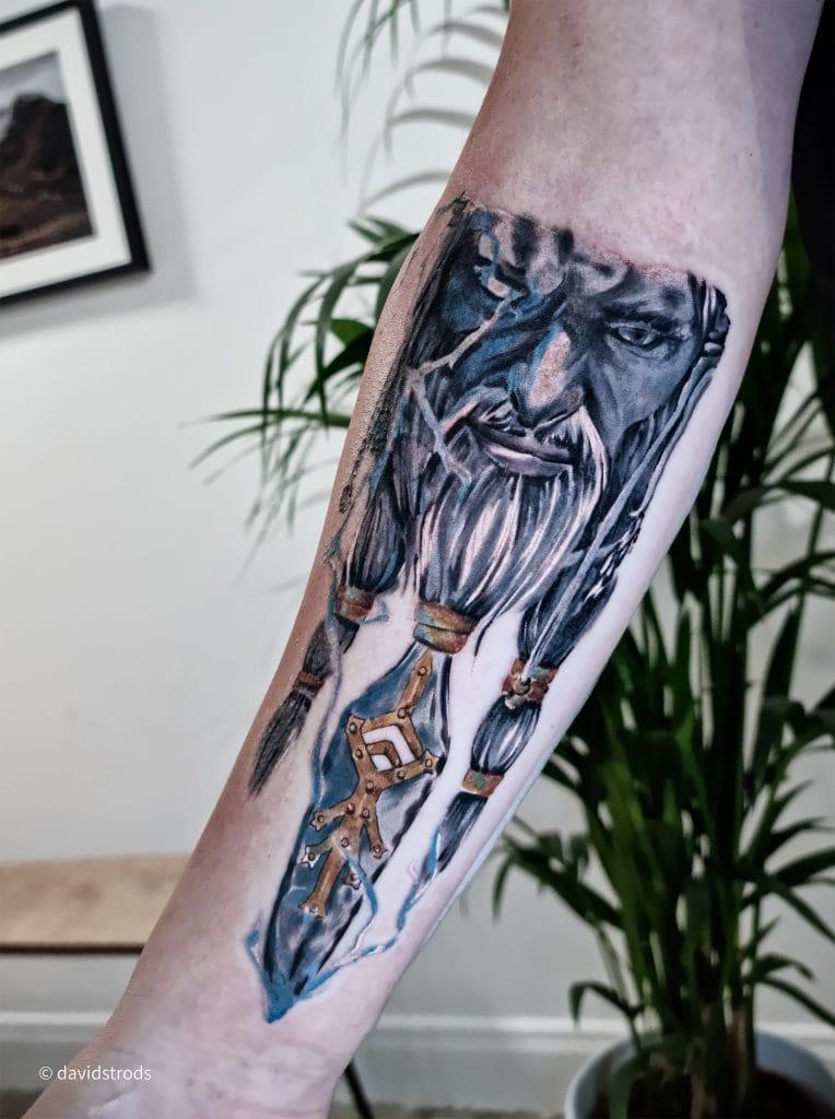 Viking sleeve tattoo gods realism illustrative